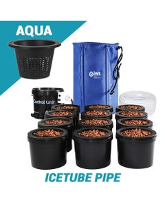 IWS Flood & Drain Grow System with Icetube Pipe - Aqua (6.5 litre) Inner Pots